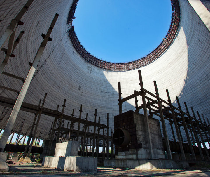 Cooling tower under construction in chernobyl